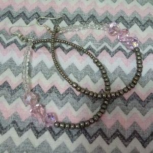 Jewelry - 💖2 FOR $20💖Crystal Hoop Earrings/Pink
